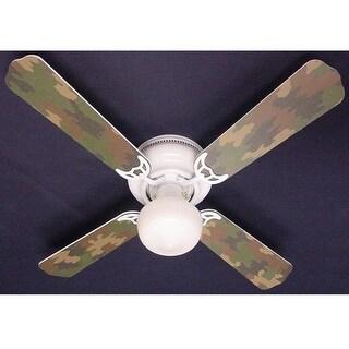 Cool Green Camouflage 42in Ceiling Fan Light Kit - Multi