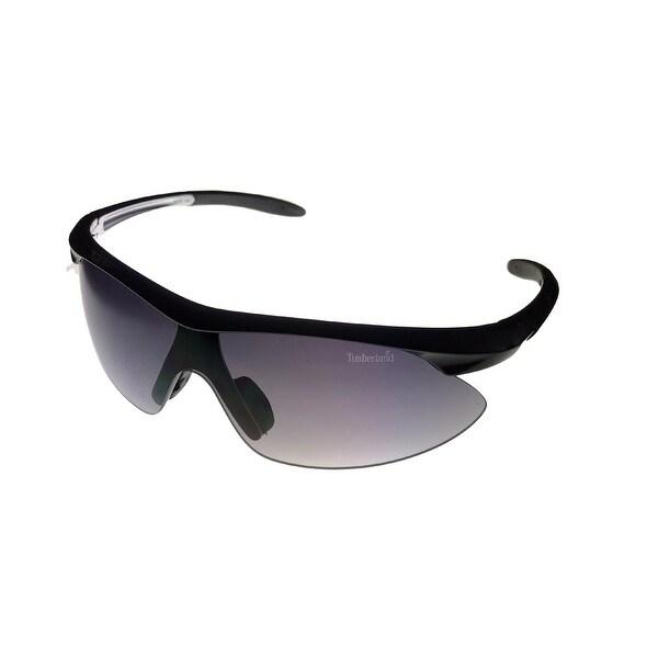 Timberland Sunglass Mens Pearl Black, Smoke Gradient Lens Plastic Wrap TB7070 1B - Medium