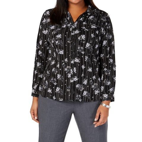 NY Collection Womens Blouse Black Size 2X Plus Button Down Floral