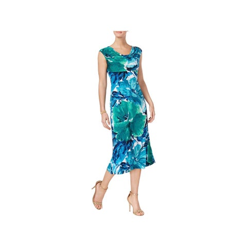 Connected Apparel Womens Petites Casual Dress Watercolor Floral Print