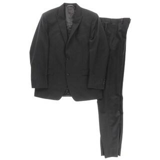 Andrew Marc Mens Two-Button Suit Wool Peak Lapel - 42l