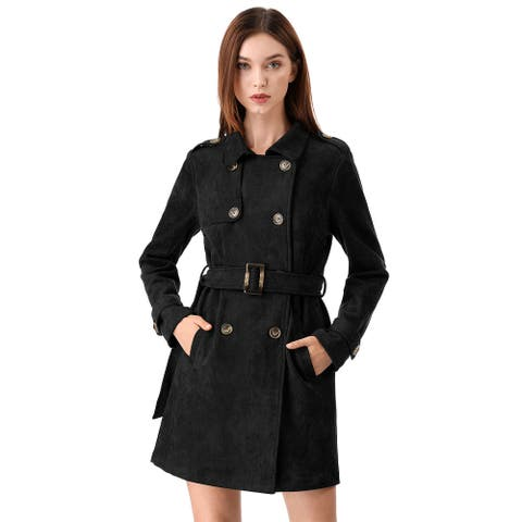 Women's Notched Lapel Double Breasted Faux Suede Trench Coat Jacket with Belt