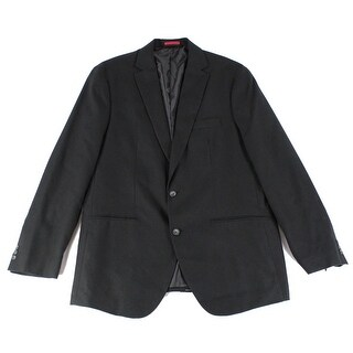 Alfani NEW Deep Black Mens LT Big & Tall Two Button Textured Blazer