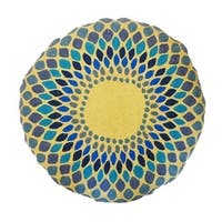 Vivai Home Turquoise Spirograph Pattern Wool Cotton Feather 24 Round Pillow - Blue