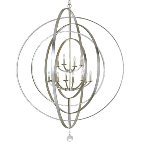 Luna 12 Light Antique Silver Sphere Chandelier - 60'' W x 63'' H
