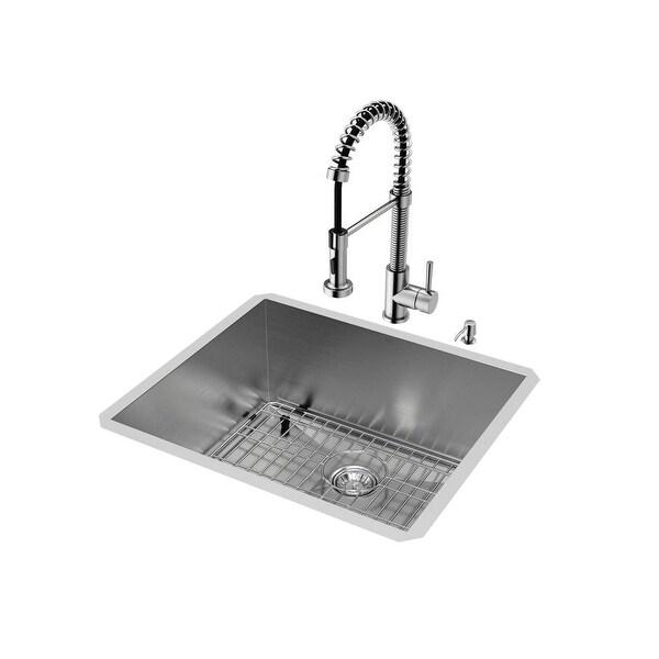 Vigo Vg15075 23 Single Basin Undermount Kitchen Sink With Edison Stainless Stee Steel