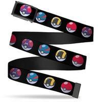 Pokemon Master Ball Centered Fg Black  Chrome 4 Poke Balls Black Web Belt