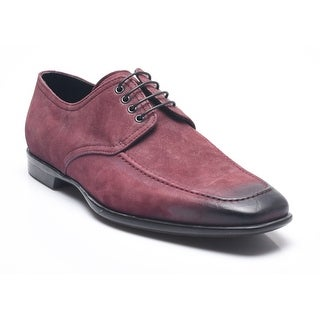Bruno Magli Men's Leather Suede Sunayo Oxford Lace-up Shoes Magenta Black