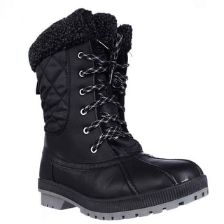 London Fog Swanley Shearling Lined Cold Weather Snow Boots - Black Quilting