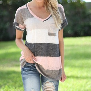 Summer Casual Stripes V Neck Loose Short Sleeve T Shirt Tops In Plus Size