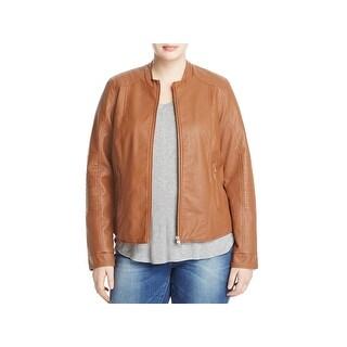 Junarose Womens Leather Coat Faux Long Sleeves