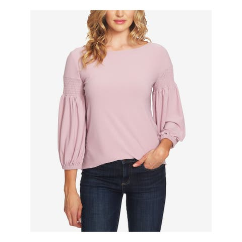 CECE Womens Pink Puffed Sleeve Long Sleeve Wear To Work Top Size L