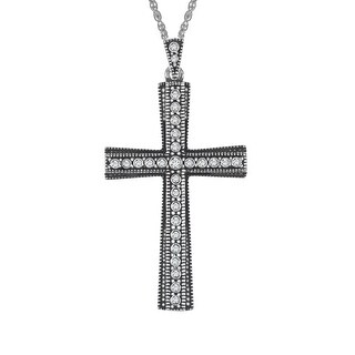 Van Kempen Cross Pendant with Swarovski Crystals in Sterling Silver - White