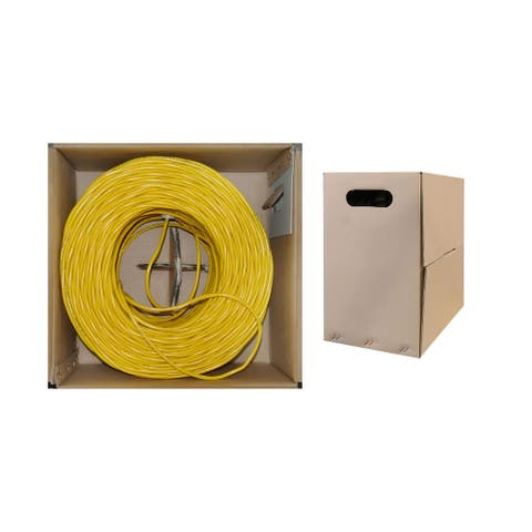 Offex Bulk Shielded Cat6 Yellow Ethernet Cable, STP (Shielded Twisted Pair), Solid, Spool, 1000 foot