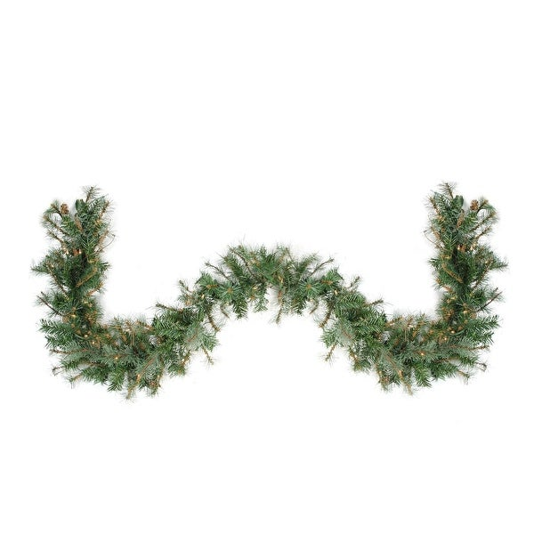 "9' x 12"" Pre-Lit Country Mixed Pine Artificial Christmas Garland - Clear Lights"