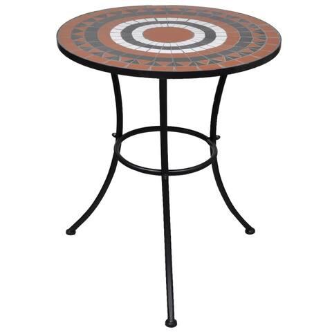 "vidaXL Mosaic Table 23.6"" Terracotta and White - 23.6""x27.5"""