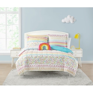 Link to Rouched Rainbow Multi-Colored  4-Piece  Reversible Comforter Set Similar Items in Comforter Sets