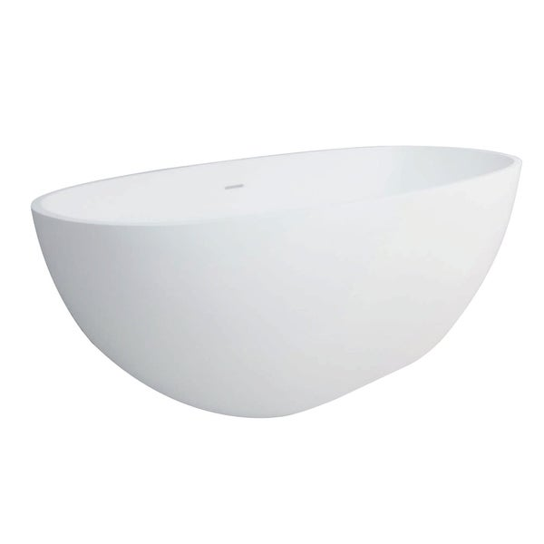 """Kingston Brass VRTRS653123 Aqua Eden 65"""" Free Standing Engineered Stone Soaking Tub with Center Drain, Drain Assembly, and"""