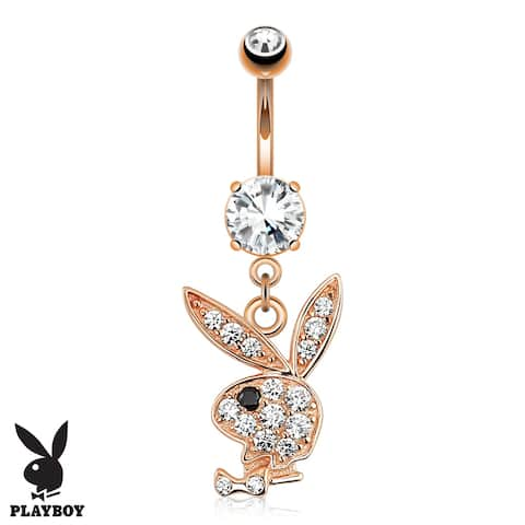 {Clear/Black} Multi Paved Gems on Playboy Bunny Dangle Rose Gold 316L Surgical Steel Navel Ring