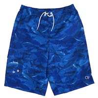 OP Boys Royal Blue Shark Print Adjustable Waist Swimwear Shorts