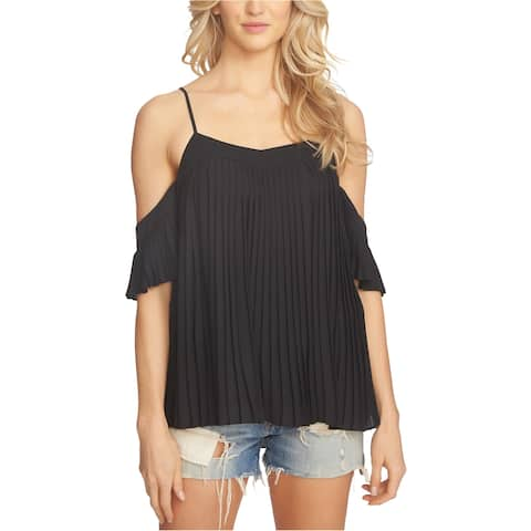 1.State Womens Pleated Cold Shoulder Blouse