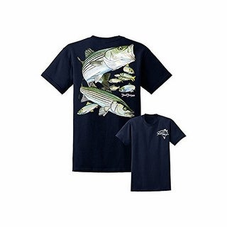 David Dunleavy Mens Striped Bass Ss Tee, Navy , Xl