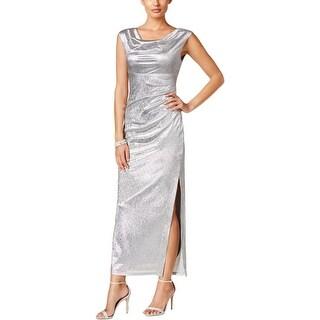 Connected Apparel Womens Evening Dress Metallic Textured - 14