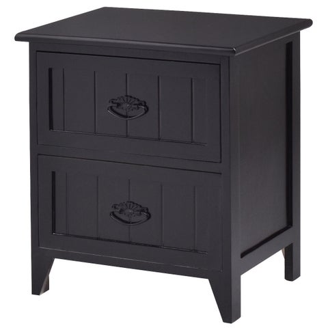 Gymax 2 Drawers Nightstand Storage Wood End Table Side Bedside Black