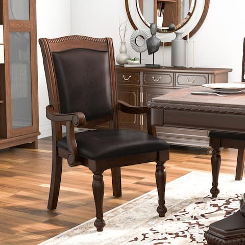 Furniture of America Tima Traditional Cherry Arm Chairs (Set of 2)
