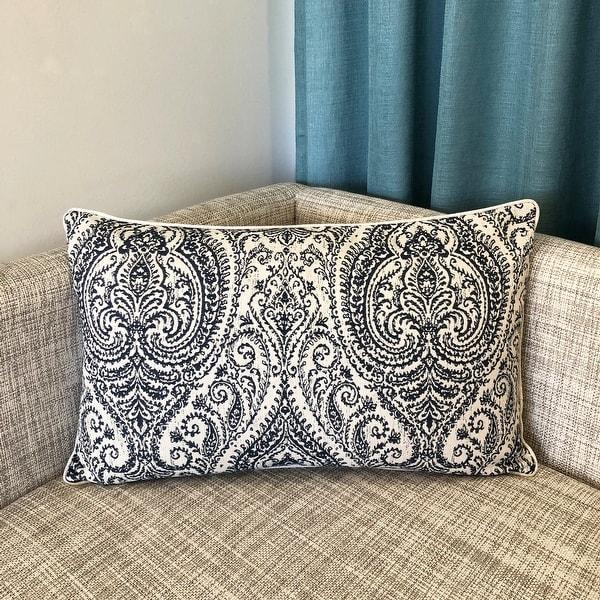 Rodeo Home Polina Traditional Damask Linen Lumbar Pillow. Opens flyout.
