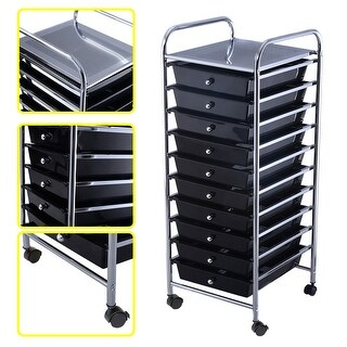 Costway 10 Drawer Rolling Storage Cart Scrapbook Paper Office School Organizer Black