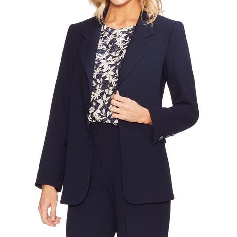 Vince Camuto Womens Jackets Midnight Blue Size 10 Crepe Open-Front