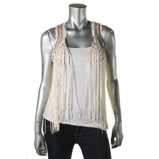 Guess Womens Embellished Fringe Casual Vest - XS
