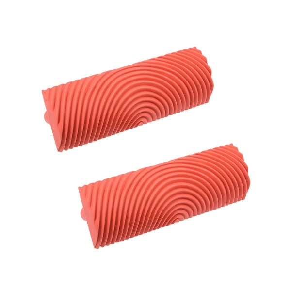 """Wood Grain Tool 4"""" Rubber Square Graining Pattern Stamp Wall Decoration Red 2pcs - MS21-4"""" 2pcs"""