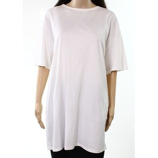 Top Shop White Womens Size 8 Tunic T-Shirt Short Sleeve Knit Top