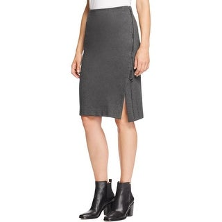 Three Dots Womens Straight Skirt Asymmetrical Zip Slub