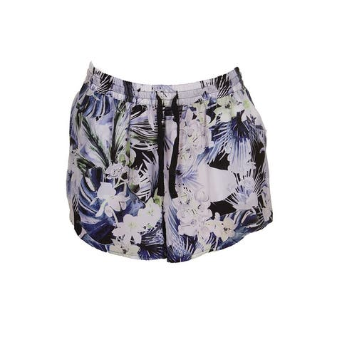 Kensie Sapphire Combo Tropical Blues Drawstring Shorts L