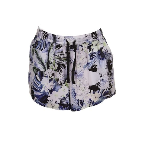Kensie Sapphire Combo Tropical Blues Drawstring Shorts M