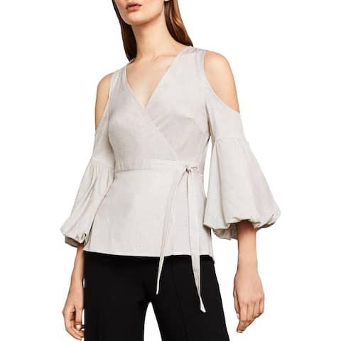 BCBG Max Azria Womens Wrap Top Linen Blend Striped