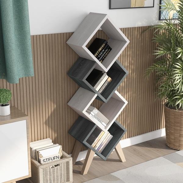 Furniture of America Diamonte Mid-century Modern 4-shelf Bookcase. Opens flyout.