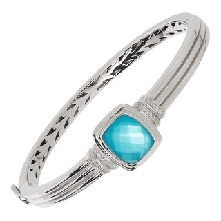 Mother-Of-Pearl Doublet & 1/8 ct Diamond Bangle Bracelet in Sterling Silver - Blue
