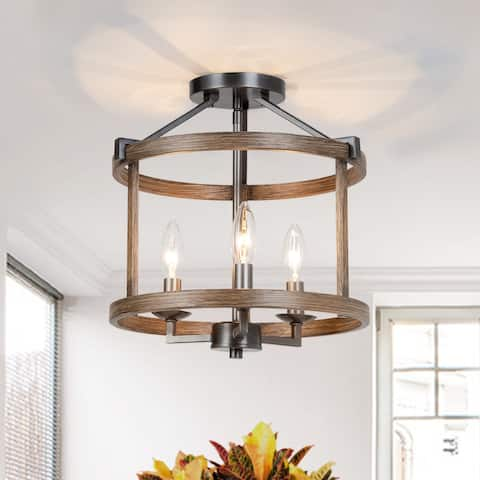 LNC Farmhouse Antique 3-light Drum Semi-flush Mounts Foyer Kitchen Ceiling Light