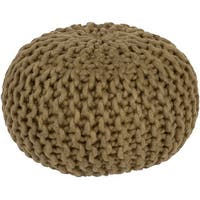 "20"" Dark Green Crochet Pattern Knitted Decorative Indoor Oval Pouf Ottoman"