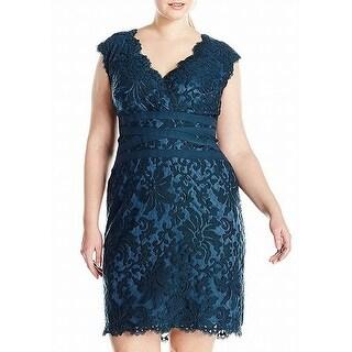 Tadashi Shoji Green Women 20W Plus Embroidered Lace Sheath Dress