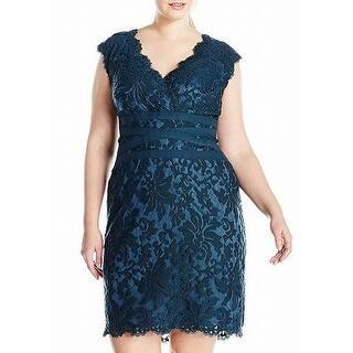 72fc68d4c680 Tadashi Shoji Green Women 20W Plus Embroidered Lace Sheath Dress