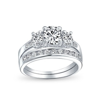 Link to 3CT Solitaire 3 Stone CZ Engagement Wedding Ring 925 Sterling Silver Similar Items in Rings