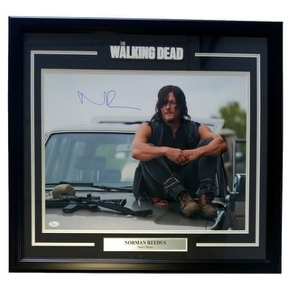 Norman Reedus Signed Framed The Walking Dead Daryl Dixon On Car 25x27 Photo JSA