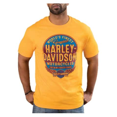 Harley-Davidson Men's Affiliate Retro Short Sleeve Crew-Neck T-Shirt - Gold