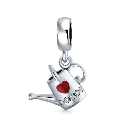 Love Plants Watering Can Dangle Charm Bead 925 Sterling Silver