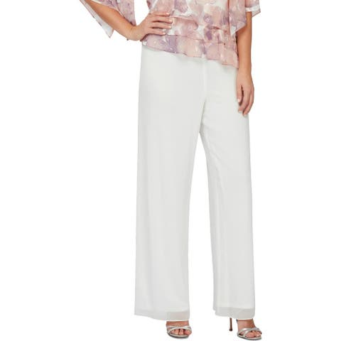 Alex Evenings Womens Petites Wide Leg Pants Chiffon High Rise - Ivory - S